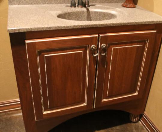 Office Showroom Bath | Walnut | Custom Stain w/ White Glaze