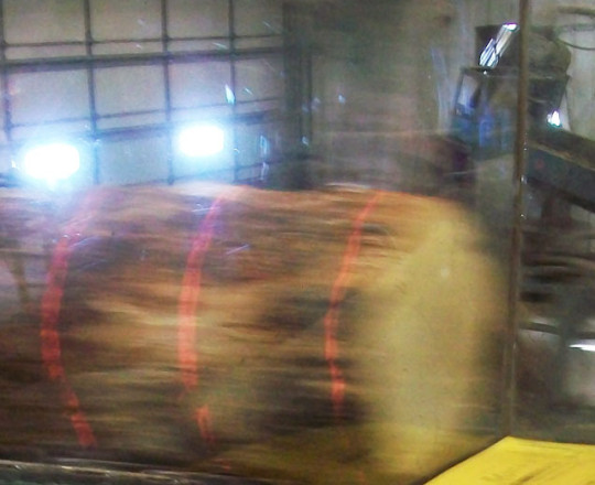 Laser scanning the log on the Head Rig Saw Carriage
