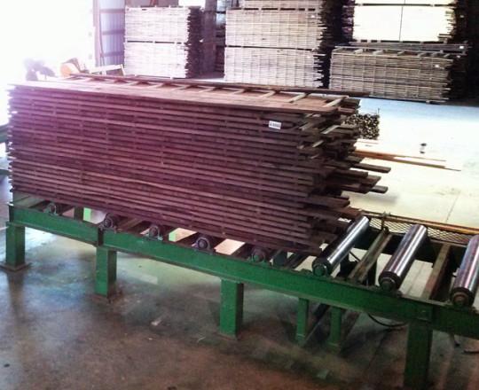 Lumber on sticks.